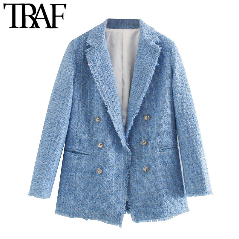 TRAF Women Fashion Office Wear Double Breasted Tweed Blazer Coat Vintage Long Sleeve Frayed Female Outerwear Chic Tops