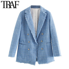 TRAF Women Fashion Office Wear Double Breasted Tweed Blazer Coat Vintage Long Sl
