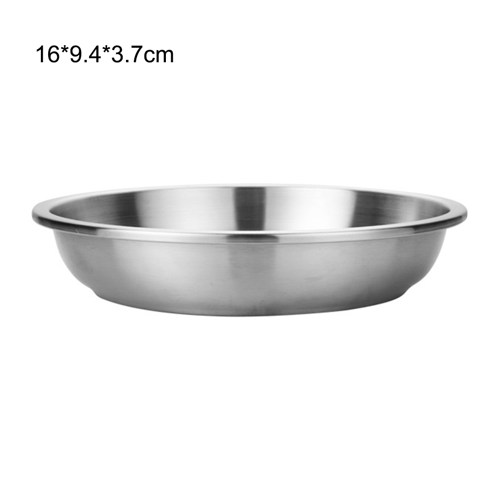 Stainless Steel Tableware Dinner Plate Portable Fruit Dessert Plate Outdoor Barbecue Tray Food Container for Camping New S19 image
