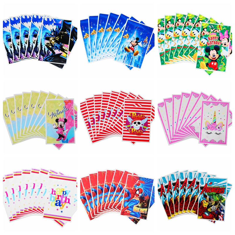 10/50pcs Cartoon Super Hero Spiderman Mickey Gift Bags Kids Baby Birthday Party Child Candy Dessert Wedding Decoration Loot Bag