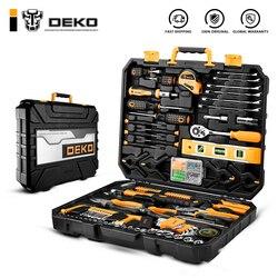 Набор ручных инструментов DEKO, домашний ремонтный набор ручных инструментов с пластиковым ящиком для хранения, торцевой ключ, отвертка, нож
