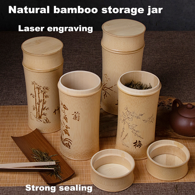 Large Capacity Natural Bamboo Storage Jars For Bulk Products Kitchen Accessories Container Bottle Spices Tea Box Caddy Sealed 3