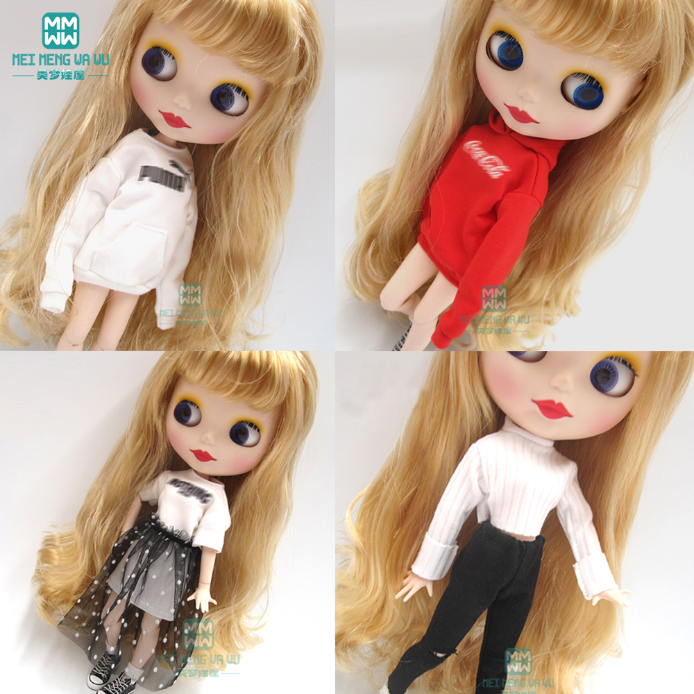 1pcs Blyth Doll Clothes Fashion Letter Sweatshirt For Blyth Azone1/6 Doll Accessories