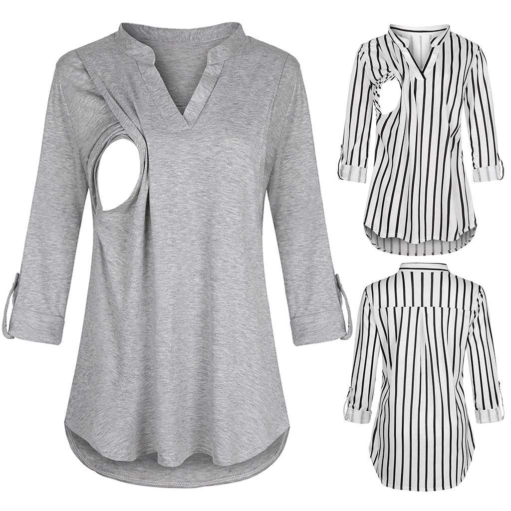 2020 Women Maternity Long Sleeve Clothes Striped V neck  Nursing Tops Blouse For Breastfeeding solid clothing for pregnant|Blouses &  Shirts|   - AliExpress