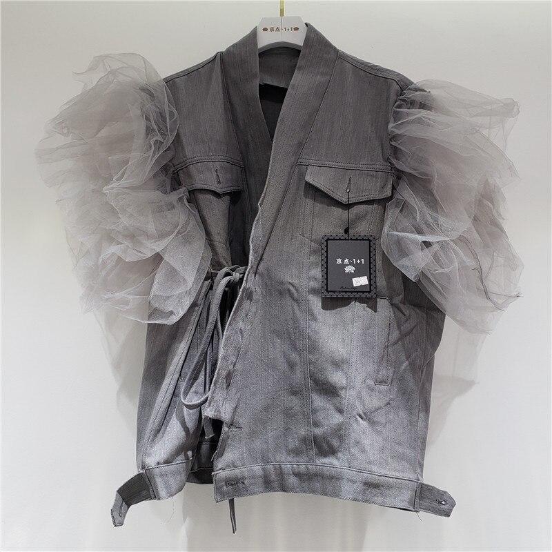 High street Grey Denim vest For Women New Fashion Autumn Ruffles Splicing Mesh Sleeveless Jean jacket Streetwear Loose Waistcoat