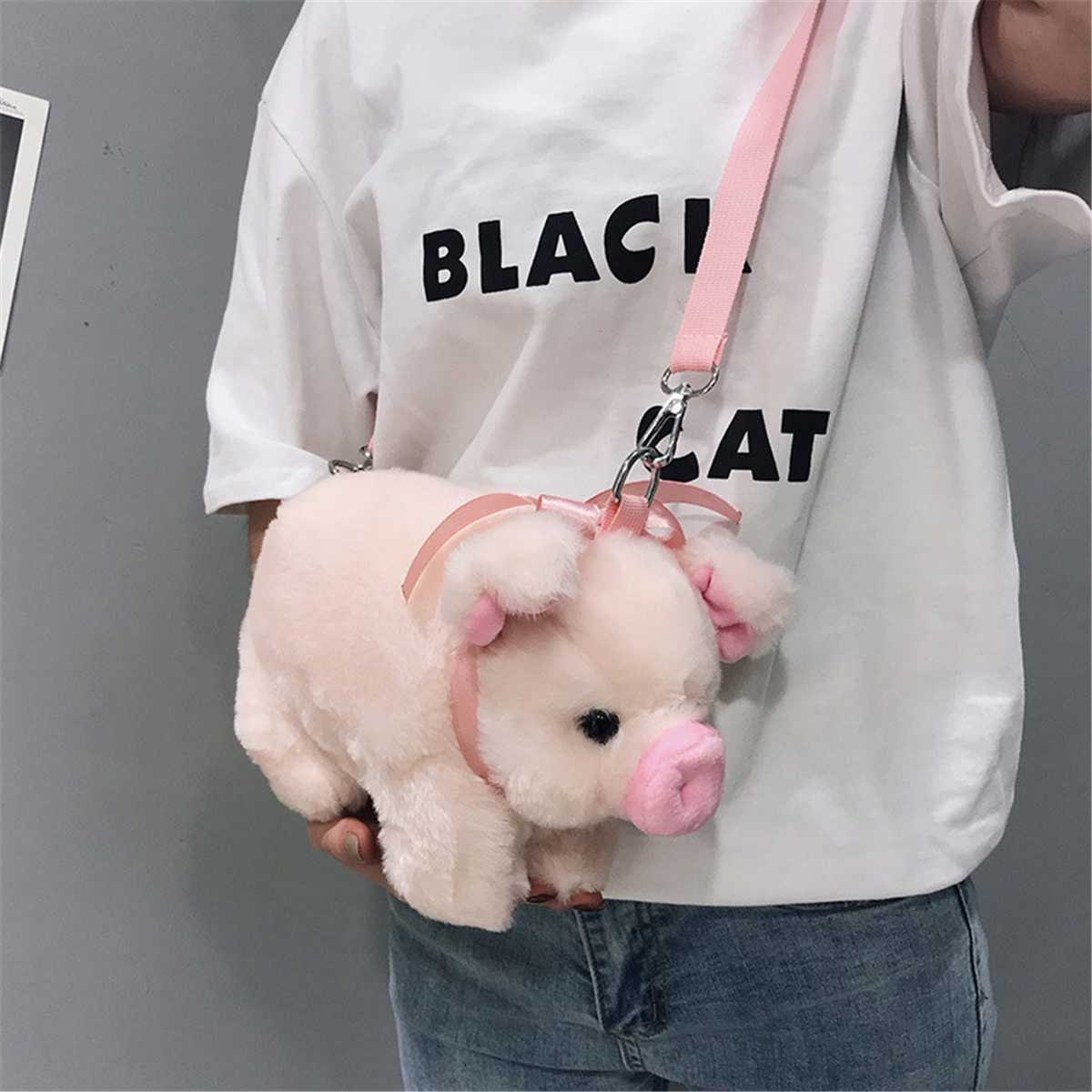 Cute Fluffy Pink Pig Bag Women Cartoon Pig Sling Bag Fluffy Animal Crossbody Bag Shoulder Bag Fur Soft Strip Bag Plush Back Pack