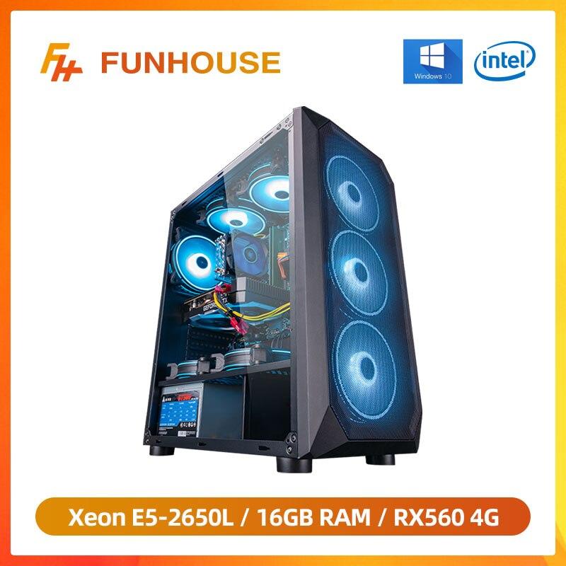 Funhouse в собранном виде настольный компьютер Intel Ксеон E5-2650L 8-ядерный/RX560 4G/16G Оперативная память 240G SSD дешевые игровая высокопроизводительный ...