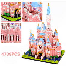 Pink Dream Castle 4708pcs World's Famous Architecture Urban Street View Diamond Building Blocks Bricks Toys For Girls Friends
