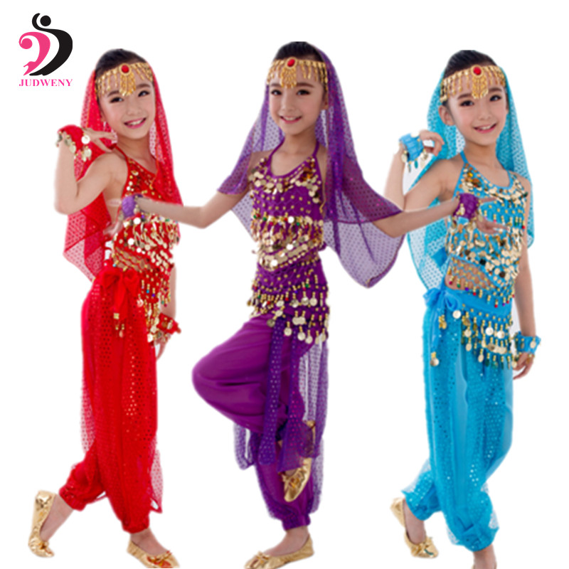 Belly Dance Costume Set 2019 New Oriental Dance Indian Egypt Dance For Girls Belly Dancing Kids Bollywood Top Pants 6 Colors
