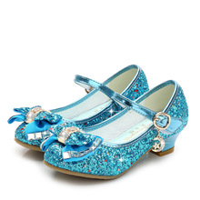 Princess Kids Leather Shoes Girls Flower Casual Glitter Children High Heel Summer Sandals Butterfly Knot Party Dress