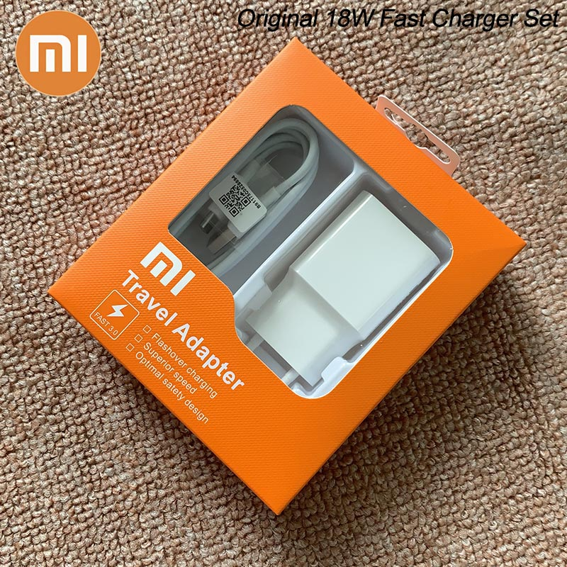 MDY-08-EI Original Xiaomi USB Charger 18W EU Adapter USB 3 0 TYPE C Data Cable For Mi 5 6 8 9 SE 10 Redmi Note 7 8 Pro F1 A2 A3