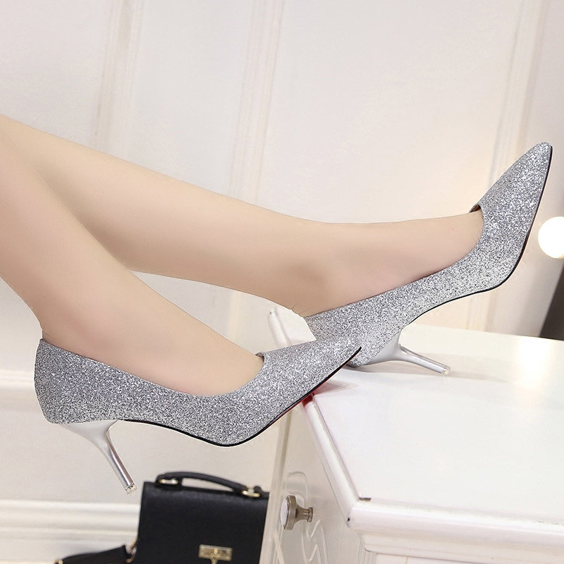 2018 Spring And Autumn New Women's Single Shoes Korean Fashion Gold Pointed High Heels Sexy Banquet Bride Wedding Shoes
