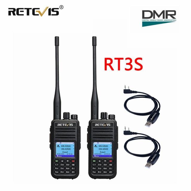 Dual Band DMR วิทยุดิจิตอล Walkie Talkie (GPS) 2pcs Retevis RT3S VHF UHF DCDM TDMA วิทยุ HF Transceiver + สายการเขียนโปรแกรม