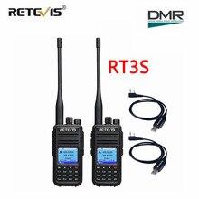 デュアルバンド dmr ラジオデジタルトランシーバー (gps) 2 個 retevis RT3S vhf uhf dcdm tdma アマチュア無線の hf トランシーバ + プログラミングケーブル