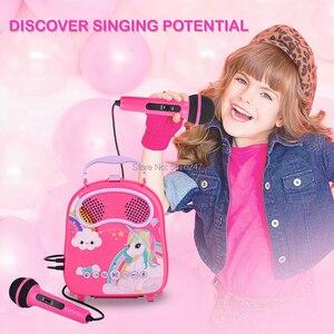 Máquina de karaoke bluetooth para crianças com 2 microfones
