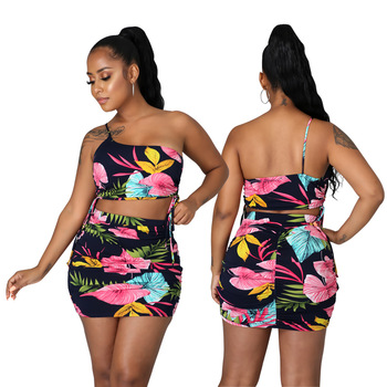 Summer New Print Holiday Two Piece Sets Women Sexy Halter Neck Bandage Tops High Waist Ruched Pencil Skirts Cute Outfits 1
