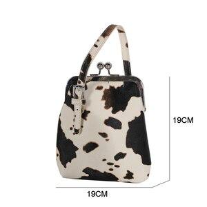 Image 5 - Bolsa de mão feminina com estampa de vaca, bolsa de ombro pequena pu de marca com clipe para mulheres