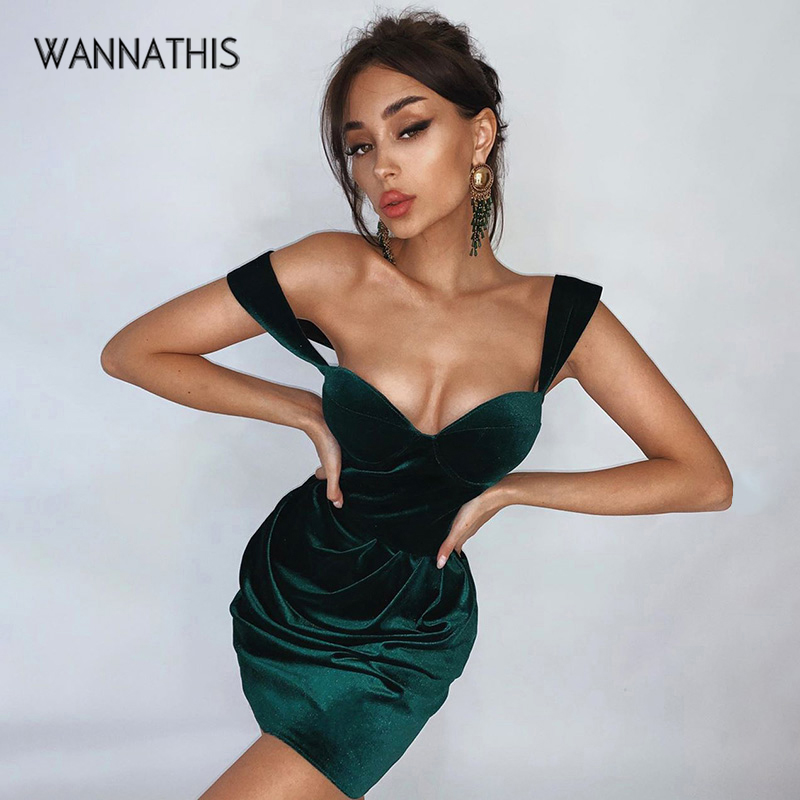 WannaThis Velvet V-Neck Spaghetti Strap Ruched Party Dresses Elegant Solid Slim Hight Waist Mini Dresses Women Sexy Summer New