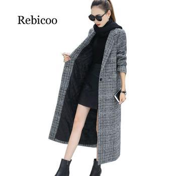 Women Wool Coat Plaid Women Loose Long Single Breasted Woolen Coats Winter Coat Woolen Overcoat Wool Jackets Trench