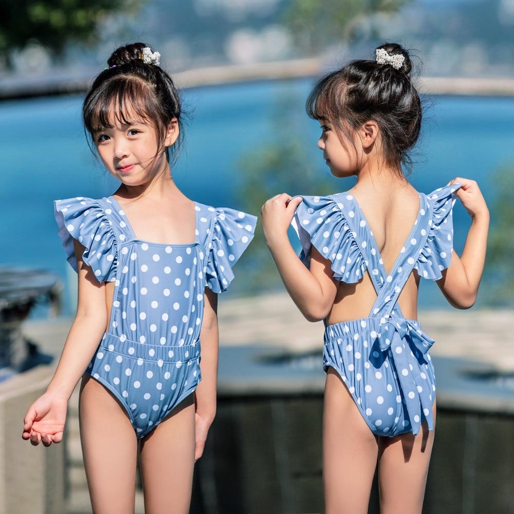 New Style Baby Girls Hot Springs Loli Swimwear Bow Cute Polka Dot Children Siamese Swimsuit
