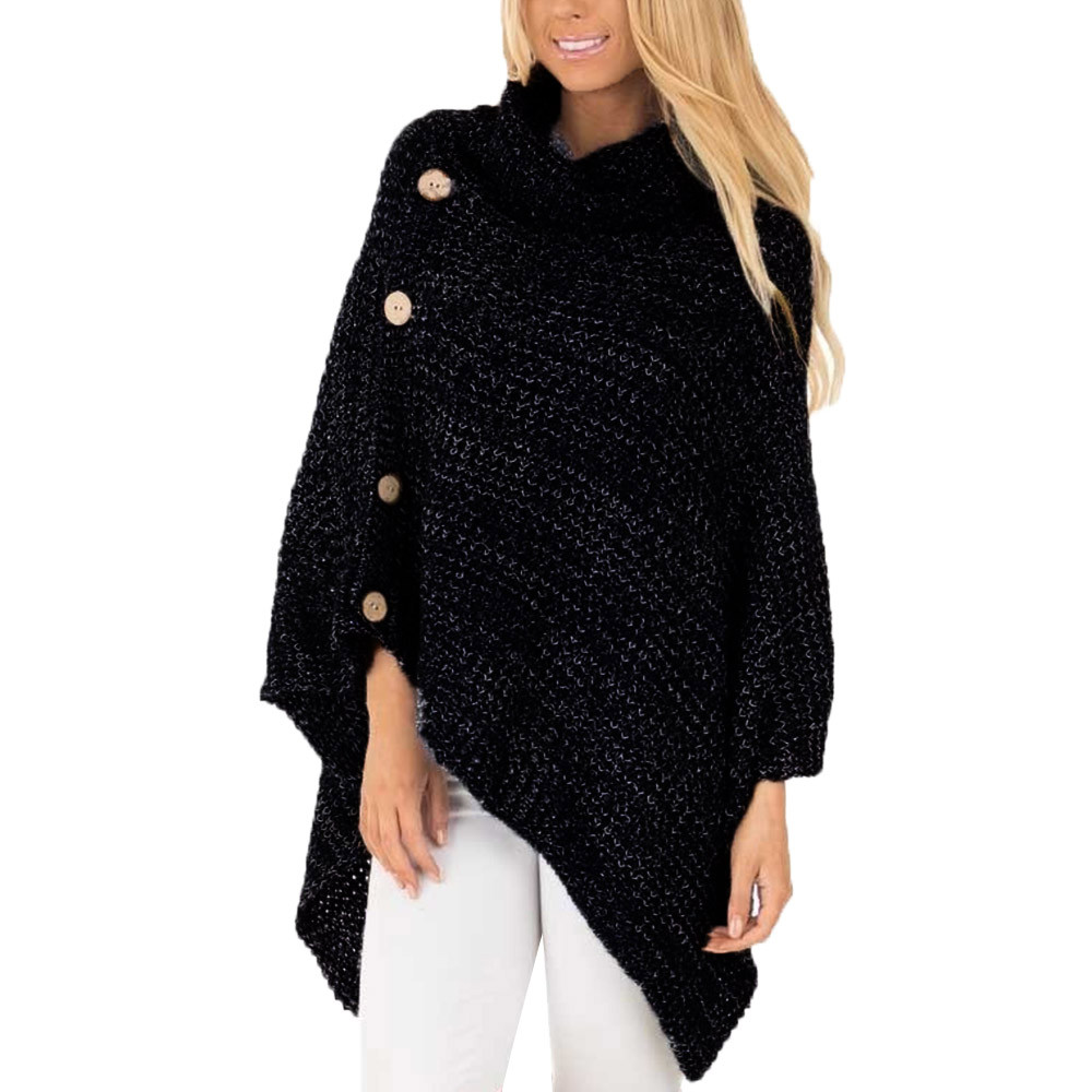 Autumn Winter Women's Knit Turtle Neck Poncho With Button Irregular Hem Pullover Sweater Acrylic Fibres Women Sweaters 9.12