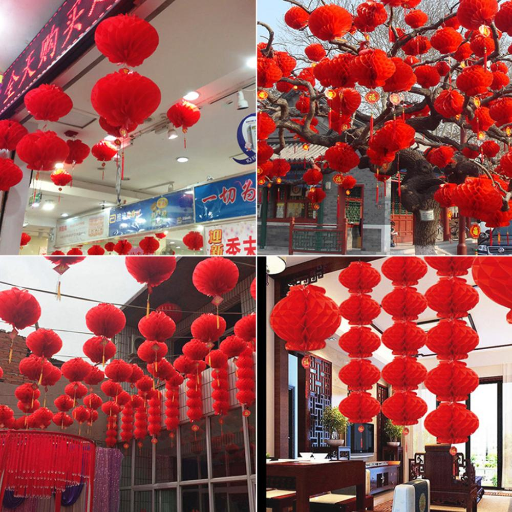 Behogar 20PCS 18cm Waterproof Good Fortune Red Paper Lanterns For Chinese New Year Spring Festival Party Celebration Home Decor
