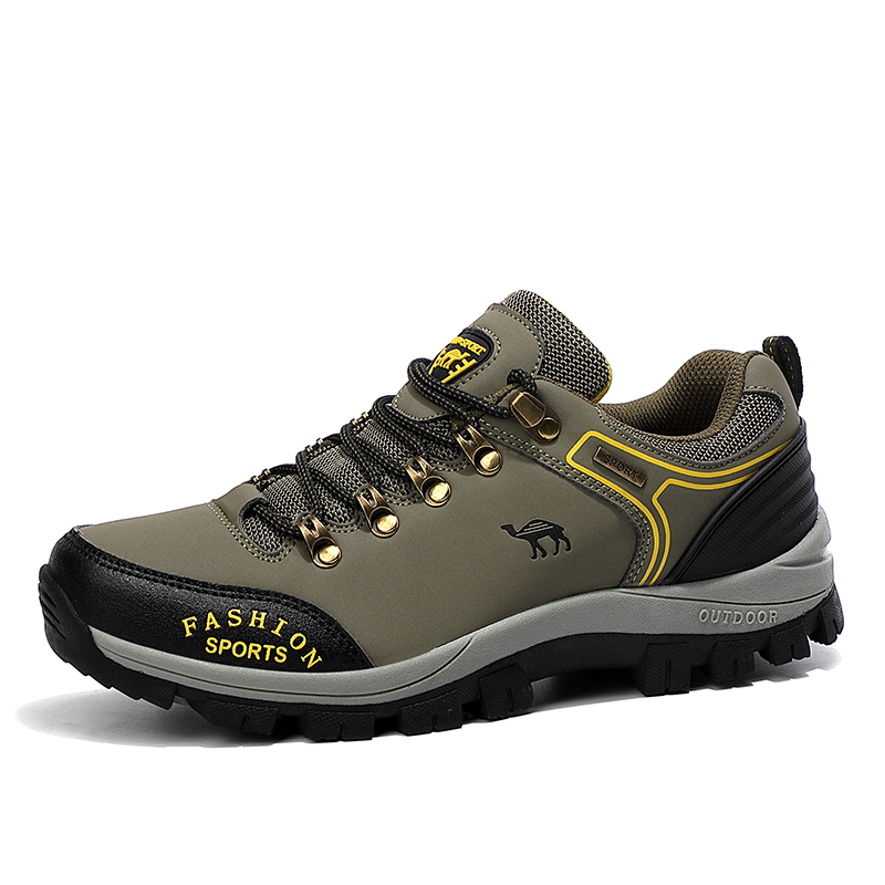HUMTTO Cow Leather Trekking Hiking Shoes Men Outdoor Waterproof Sneakers for Men Non-slip Climbing Fishing Camping Sport Shoes