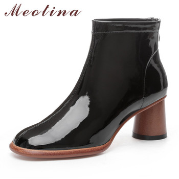 Meotina Winter Ankle Boots Women Natural Genuine Leather Round High Heel Short Boots Cow Patent Leather Zipper Shoes Lady Autumn