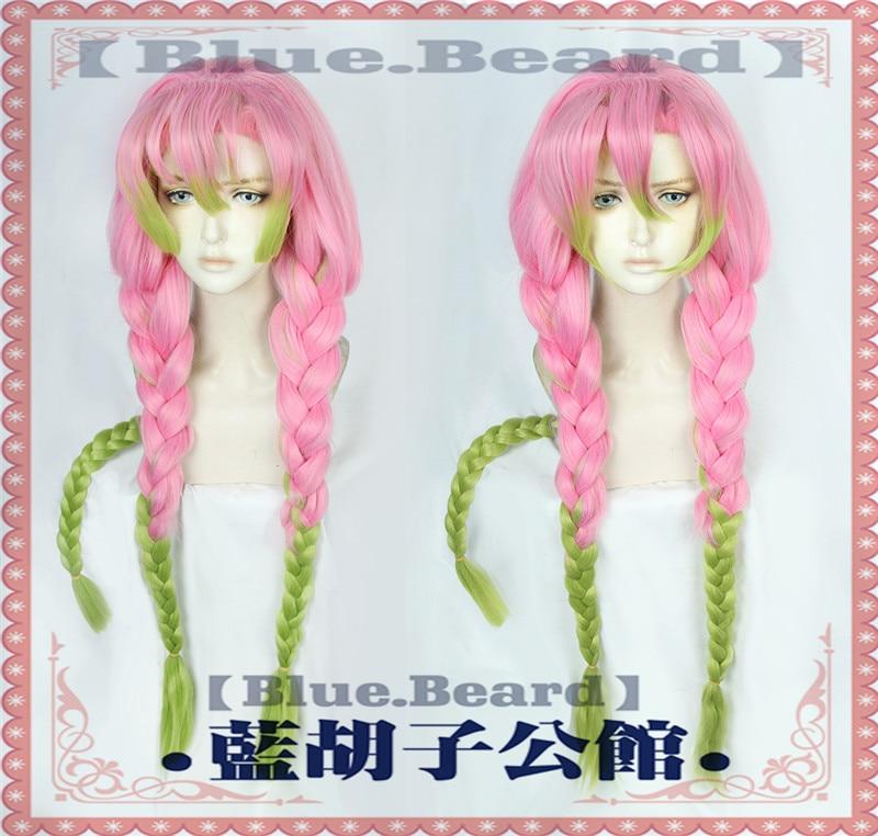 New Arrival Demon Slayer Kanroji Mitsuri Cosplay Wigs Kimetsu no Yaiba Long Pink Mix Green Braid Wig Synthetic Hair Perucas