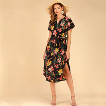 Boho Floral Print Notched Neck Belted Curved Hem Midi Shirt Dress Women 2019 Short Sleeve V Cut Summer Autumn Dresses