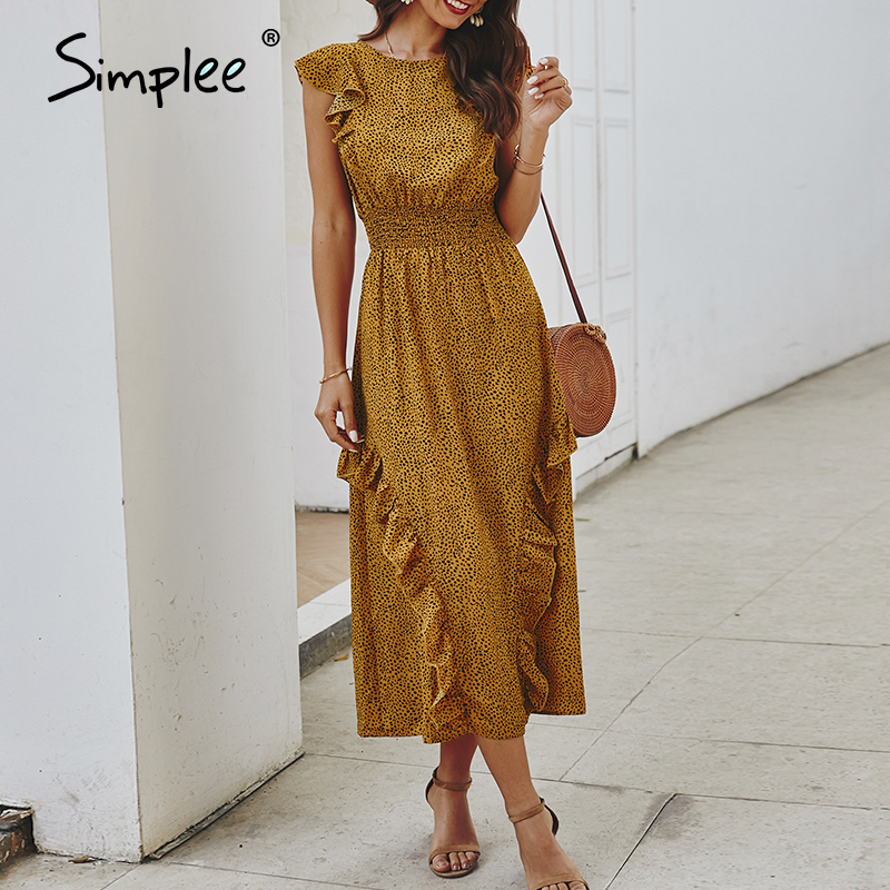 Simplee Elegant Women Ruffle Dress Sleeveless Dot Print Office Lady Work Long Summer Dresses Beach Elastic Waist Maxi Sundress