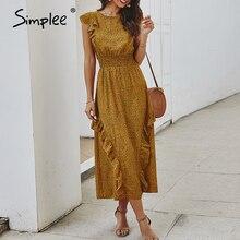 Simplee Elegant women ruffle dress Sleeveless dot print office lady work long summer dresses Beach elastic waist maxi sundress