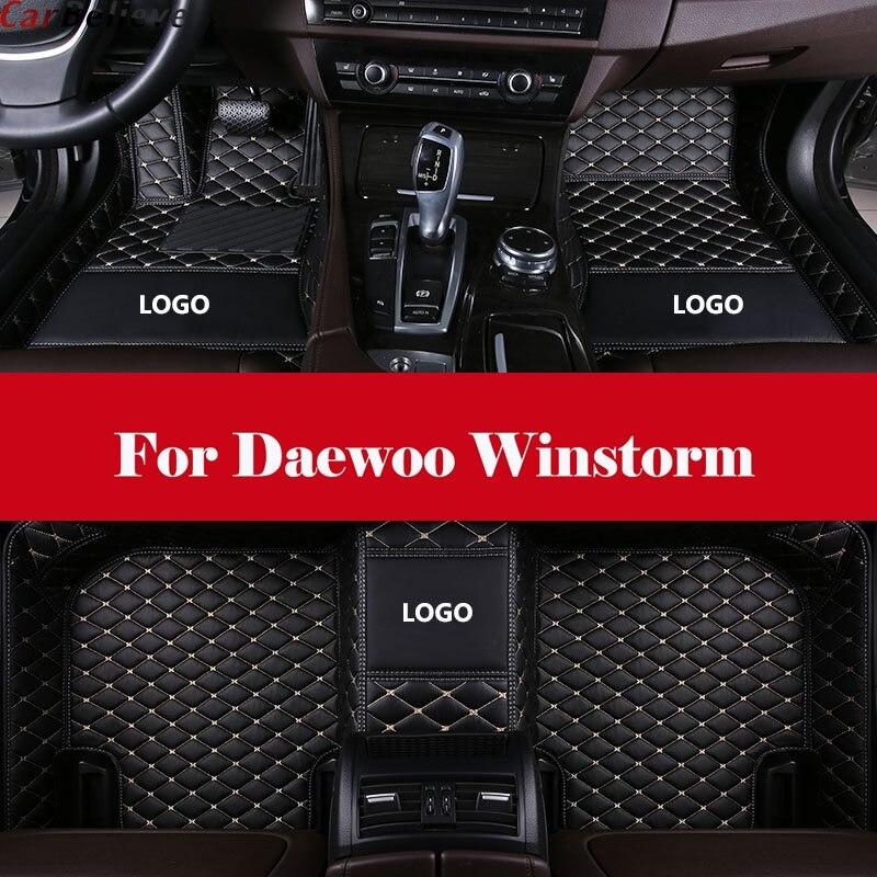 Automotive interior Double layer Carpet Car Floor Mats Front& Rear Liner Leather Auto Mats For Daewoo Winstorm