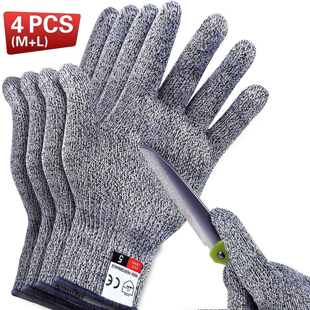 4 PCS Cut Resistant Gloves Food Grade Level 5 Protection For Meat Cutting, Wood Carving, Mandolin Slicing And More, (M-L)