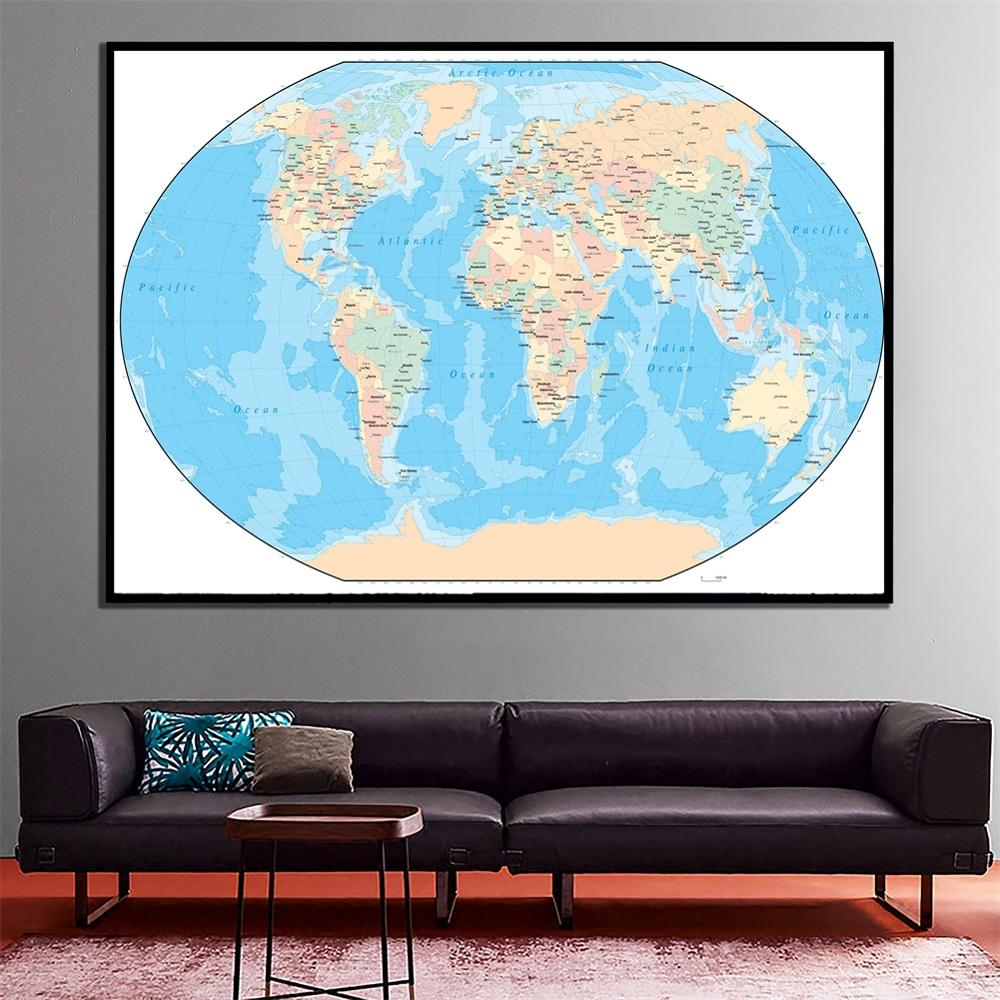 A2 Size The World Fine Canvas Map Home Crafts Office Living Room Wall Decor Map For Beginner