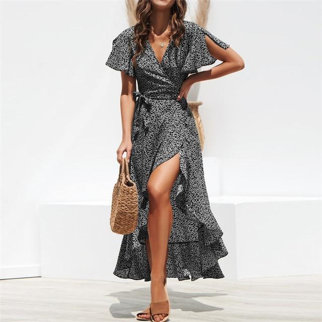 2021 Summer Beach Maxi Dress Women Floral Print Boho Long Dress Ruffles Wrap Casual V-Neck Split Sexy Party Dress Robe Femme 4
