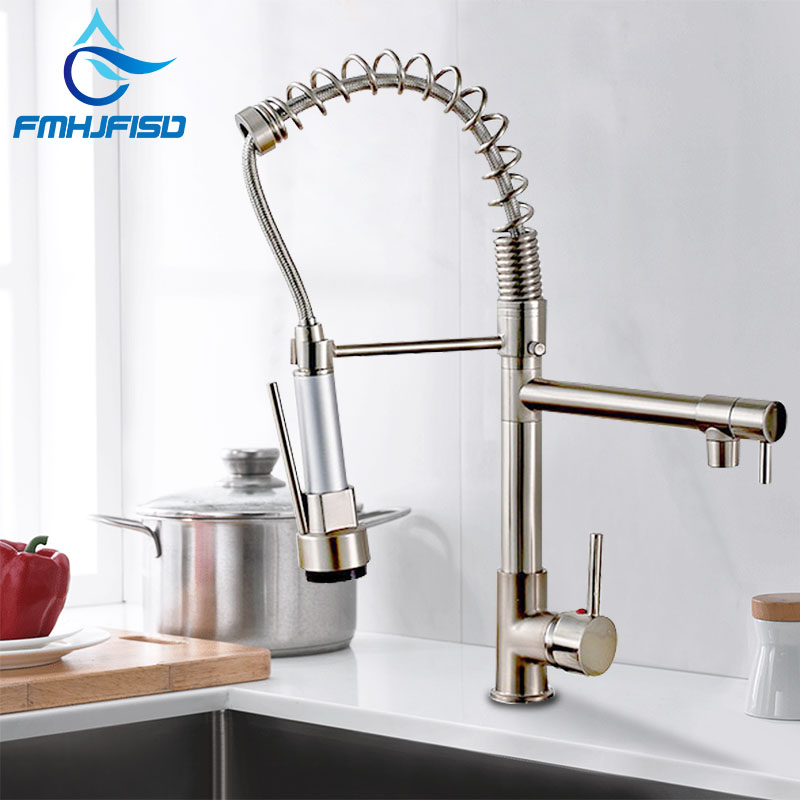 Dual Spout Kitchen Faucets 360 Degree Rotation Spring Pull Down Sprayer Hand Deck Mounted Kitchen Sink Faucet Mixer Taps