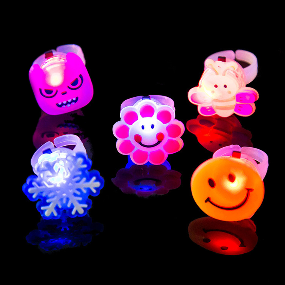 5pcs Night Luminous Rings LED Flash Finger Cartoon Light Children's Party Toys For Kids Play Glow In The Dark Toys For Child E