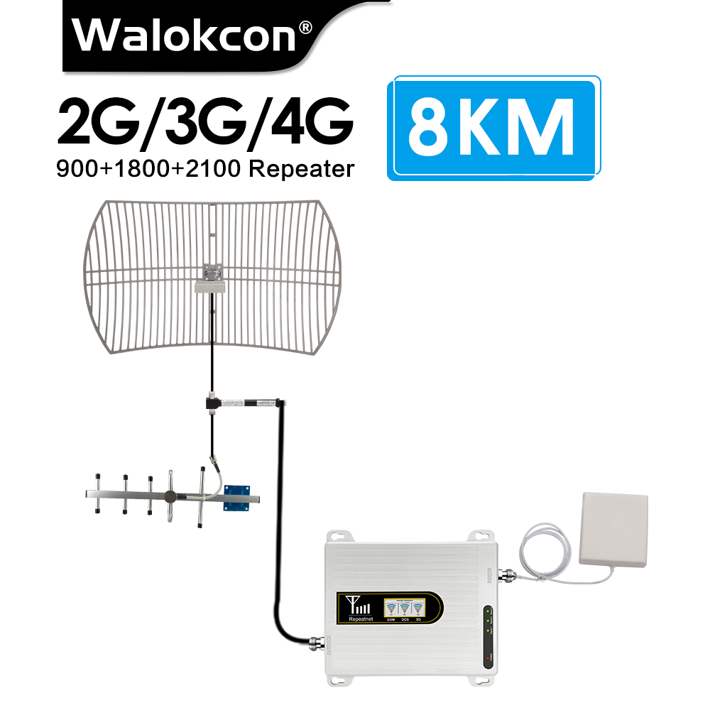 8 Km Signal Base Station 2g 3g 4g GSM Signal Repeater 900 1800 2100 Mhz Signal Booster B8 B3 B1 UMTS 4G LTE Amplifier FOR Villa