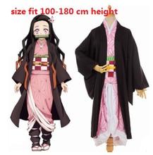 Kimetsu no Yaiba Kamado Nezuko Cosplay Mujer Kimono Cosplay Disfraz Pelucas Zuecos Anime japon/és Demon Slayer