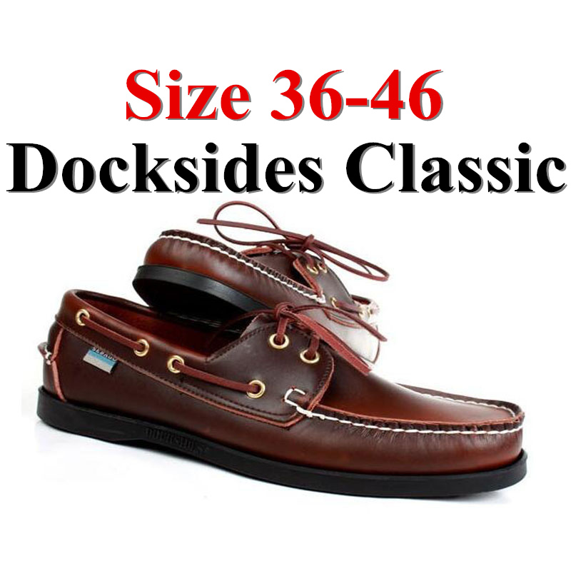 Men Women Genuine Leather Docksides Classic Boat Shoes,Man Homme Femme Red Brown Plus Size 36-46 Brand Flats Loafers 2019A090