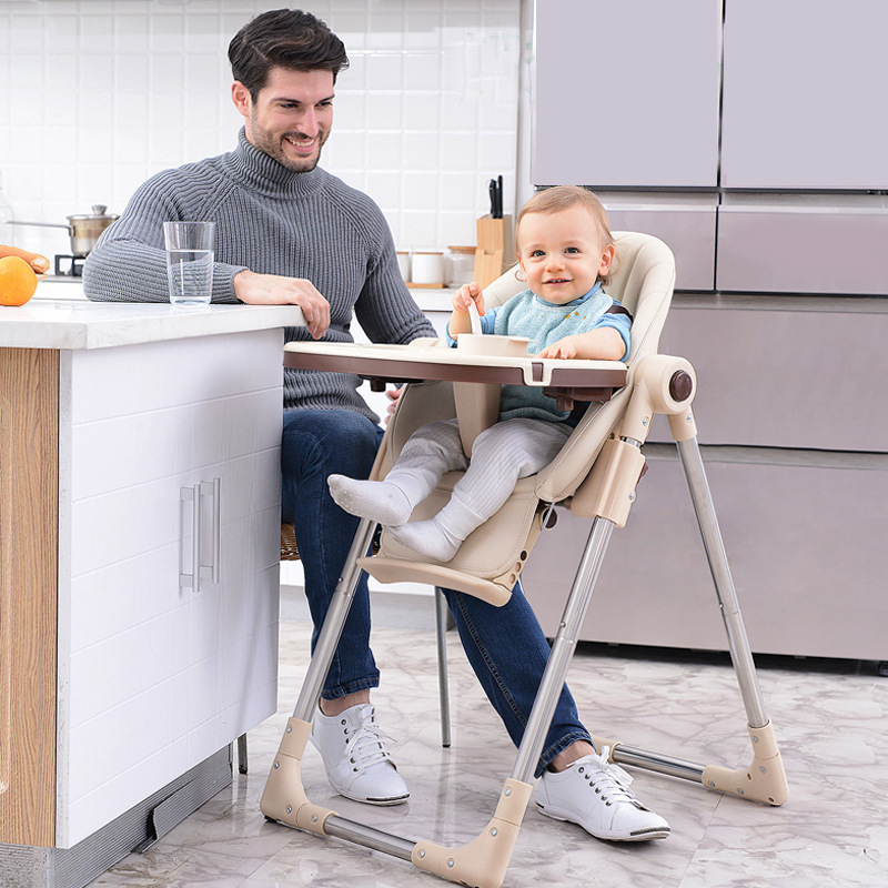 Baby High Feeding Chair Portable Kids Table Children's Foldable Dining Chair Adjustable Height Multifunctional Food Chair