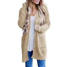 Women Long Sleeve Soft Chunky Knit Sweater Open Front Cardigan Outwear Pockets Solid Warm pockets knit open front cardigan