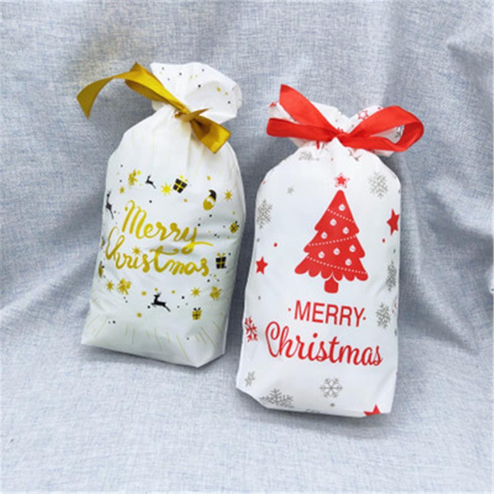 50PCS Christmas Candy Bag Reusable Drawstring Bag Storage Pouch For Christmas Gift