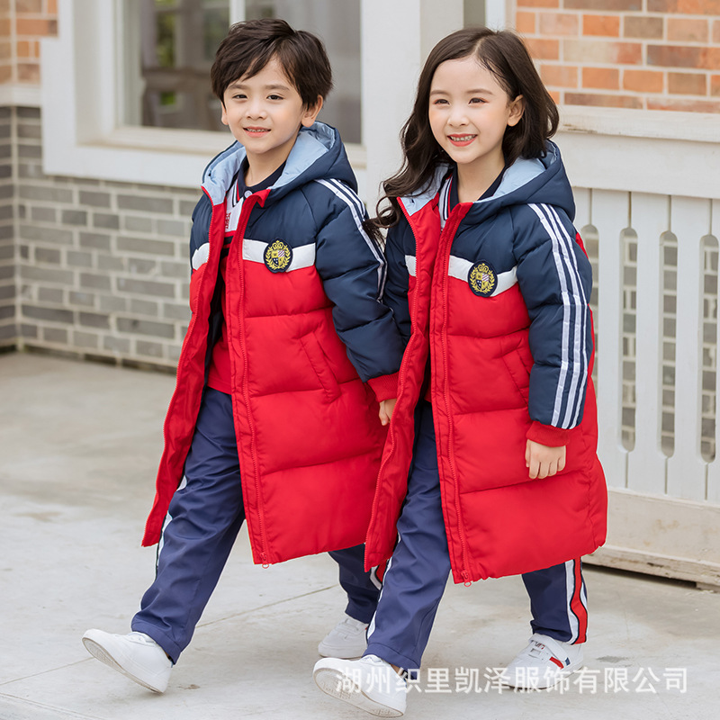 2019 New Style Men And Women Children Mid-length Cotton Coat Kindergarten Suit Young STUDENT'S School Uniform