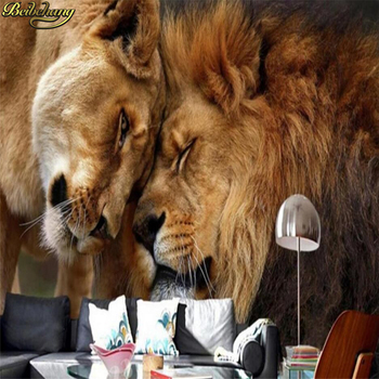 цена на Custom wall paper 3D domineering lion animal photography tv background wall large mural living room background animal wallpaper