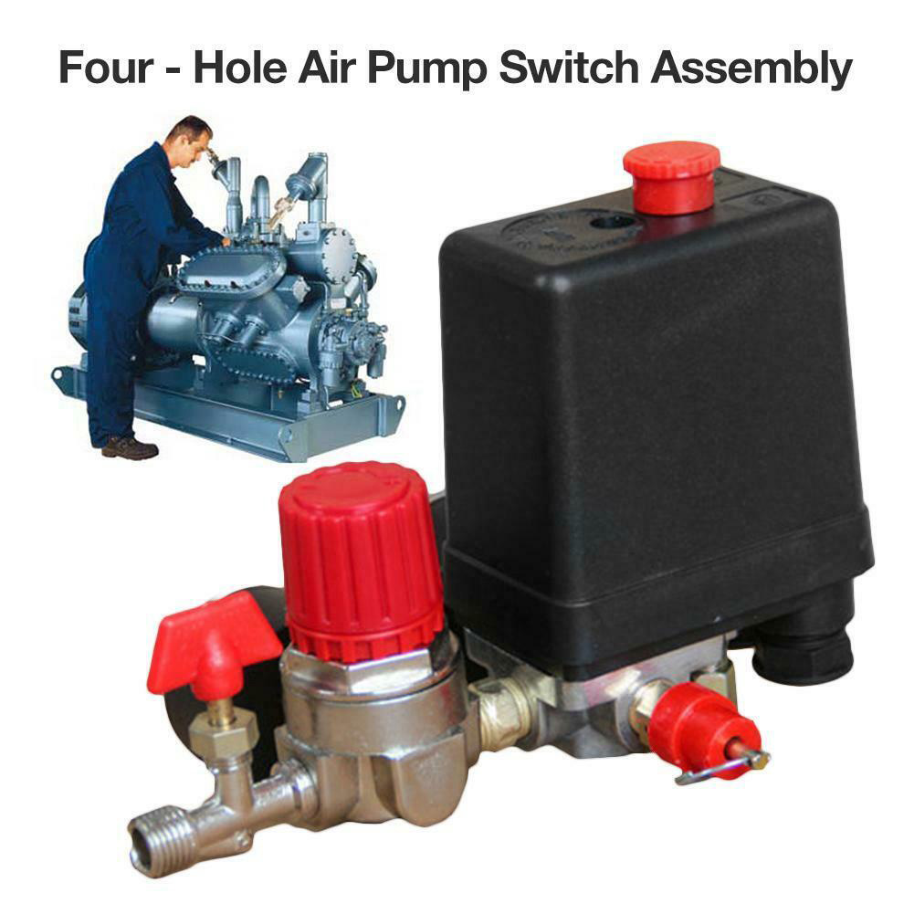 Image 5 - 90 120PSI Heavy Duty Practical Air Compressor Motor Driven With Gauges Exhaust Pressure Control Switch 4 Port Pump Accessories-in Pneumatic Parts from Home Improvement