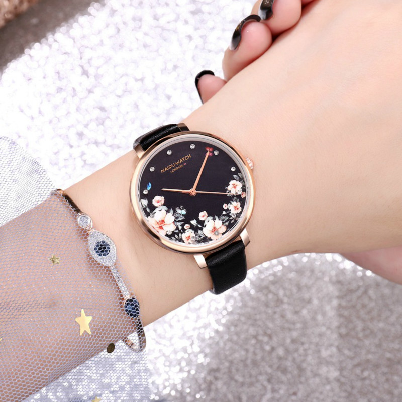 Brand Women's Watches Fashion Leather Flower Wrist Watch Women Watches Ladies Watch Clock Mujer Bayan Kol Saati Montre Feminino