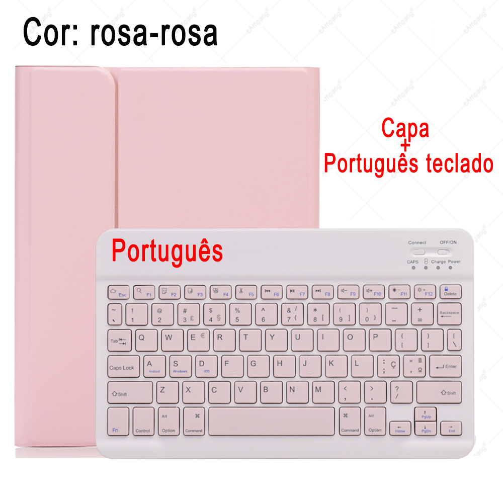 Portuguese Keyboard Colored Keyboard Case For ipad 10 2 2019 7 7th 8th Generation A2197 A2198 A2200 A2232 Detachable