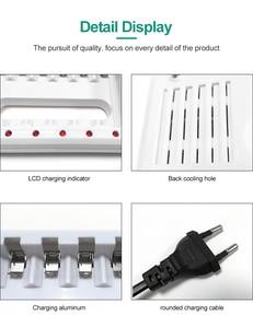 Image 3 - VOXLINK סוללה מטען אינטליגנטי 6 חריצים האיחוד האירופי כבל עבור AA/AAA Ni Cd נטענת סוללות עבור שלט רחוק מיקרופון מצלמה